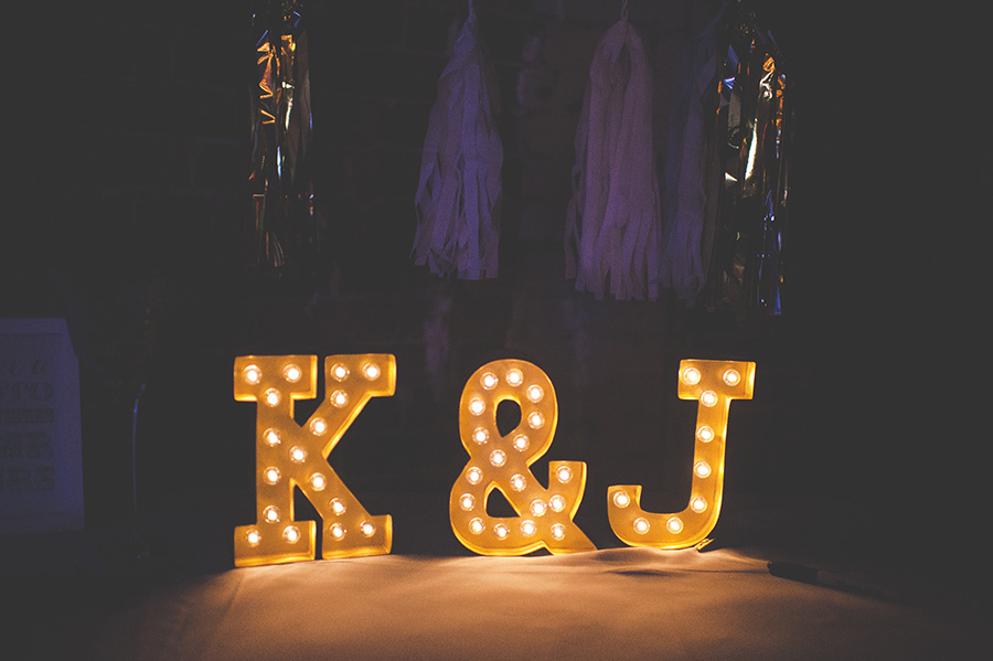 Bride and Groom Yellow Light Up Wedding Sign with Initials