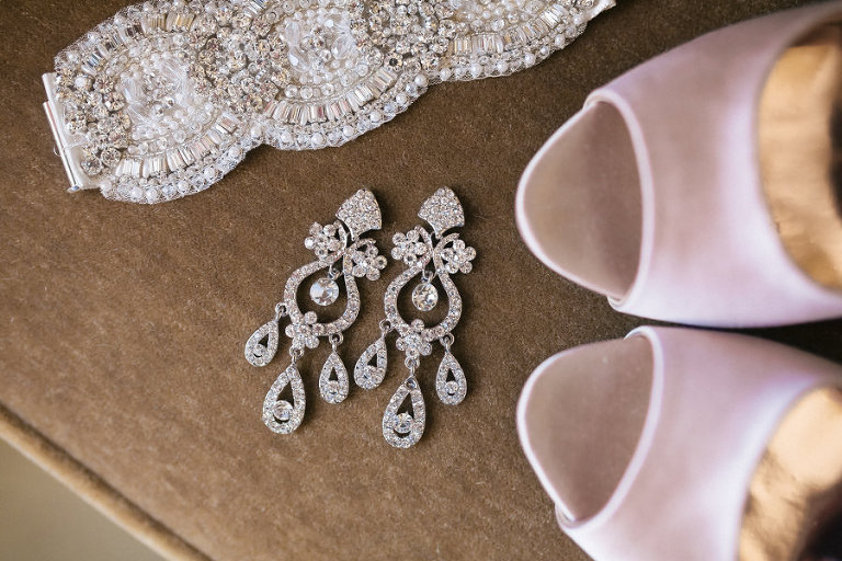 Crystal, Rhinestone Wedding Belt and Chandelier Earrings and Peep Toe Pink, Blush Wedding Shoes