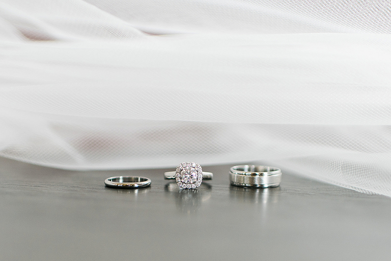 Bride and Groom Wedding Bands and Engagement Ring