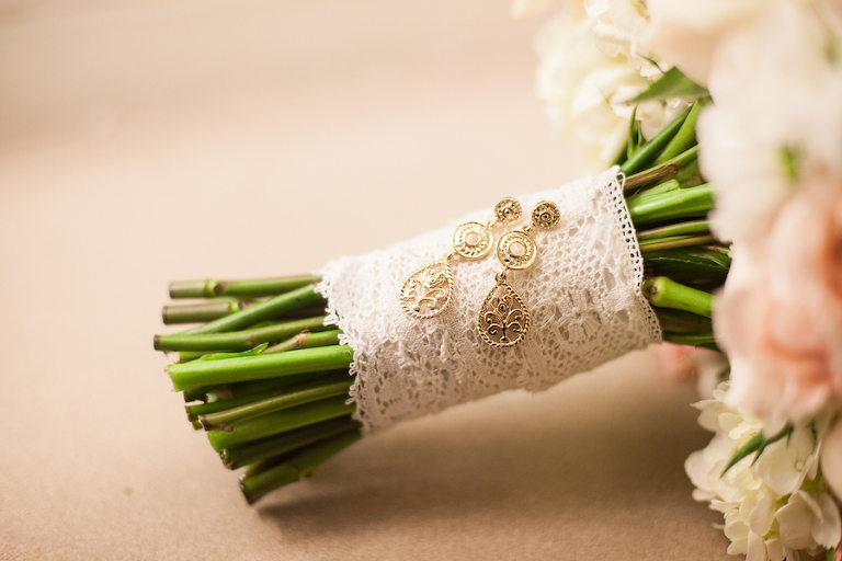 Lace Wedding Bouquet Wrap/Tie with Gold Earrings