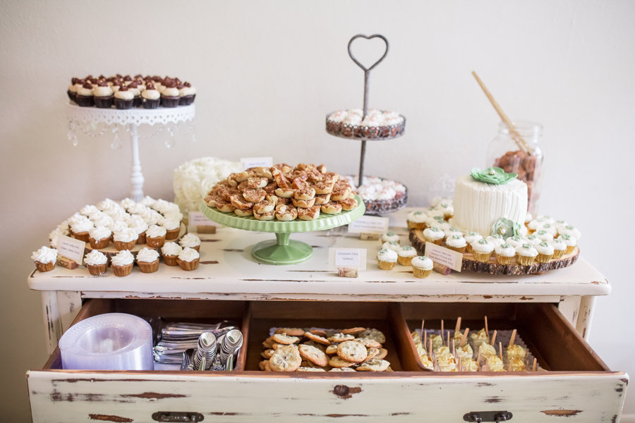 Vintage Wooden Chest Dessert Table With Cupcakes, Cookies, Cake, and Sweets