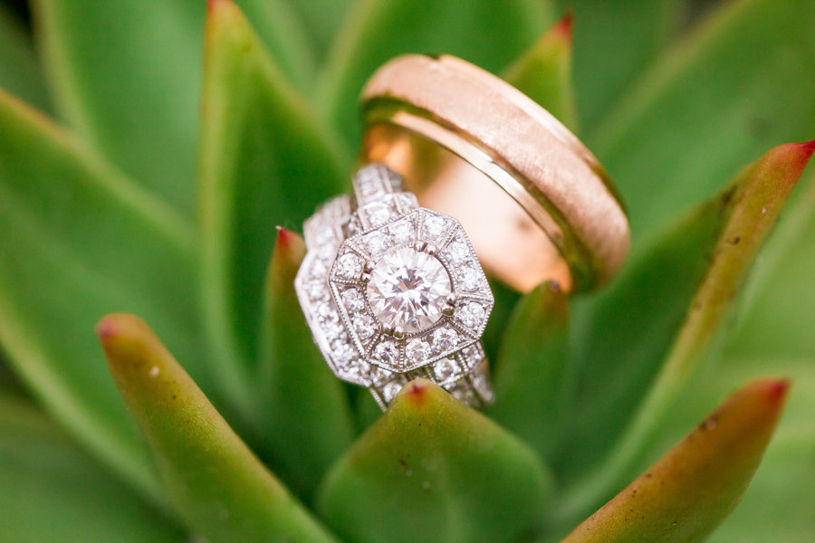 Bride Engagement and Wedding Ring on Succulent | Bride and Groom First Dance | Tampa Garden Club | Tampa Wedding Photographer Rad Red Creative