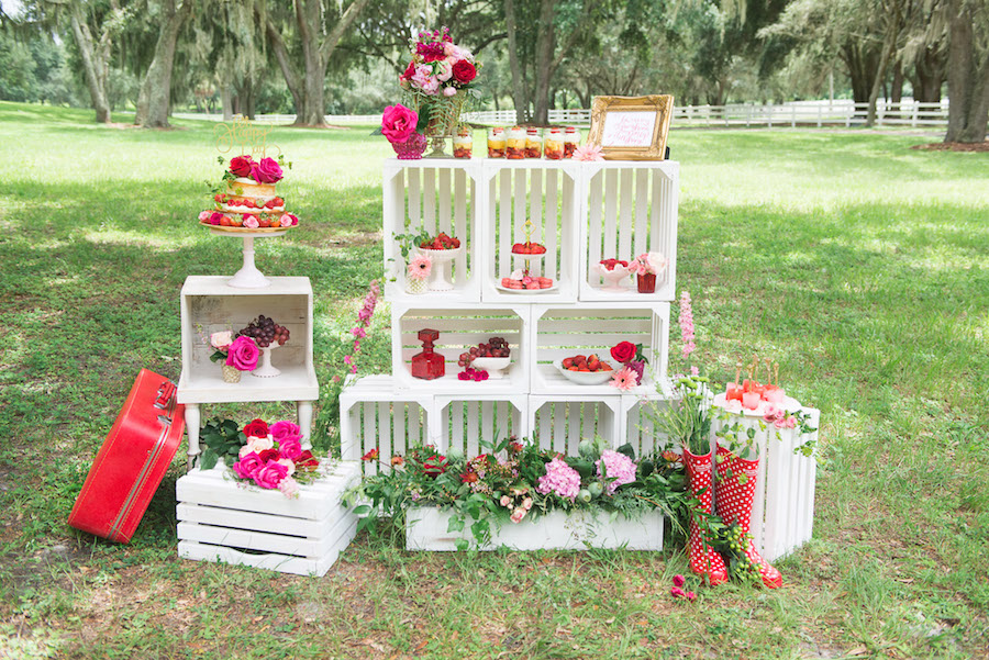 Wedding Reception Dessert Bar with Vintage Crates as Display with Touches of Strawberry Red and Pink | Tampa Wedding Rentals by Ever After Vintage Weddings
