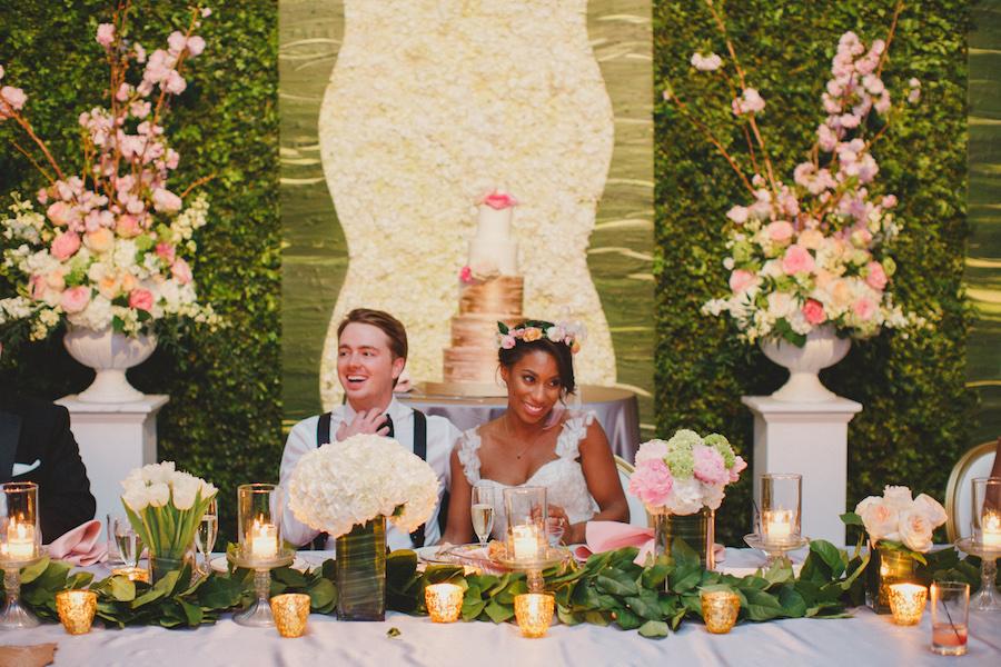 Sweetheart Wedding Table with Garden Greenary   Award Winning Tampa Bay Wedding Planner   Blush by Brandee Gaar