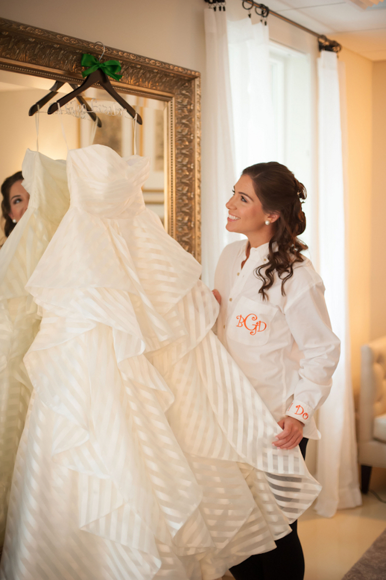 Hayley Paige Bridal Striped Sweetheard Wedding Gown