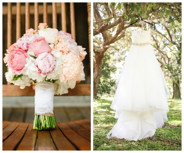 White, Stella York Bridal Wedding Gown and Pink, White, and Cream Bridal Wedding Bouquet