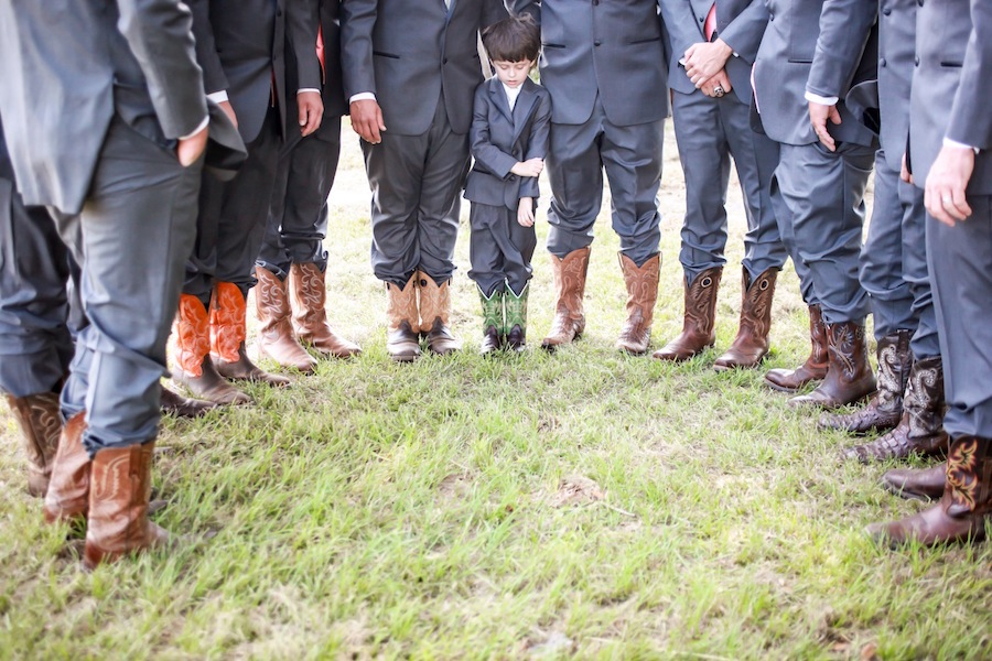 Groomsmen In Cowboy Boots And Suits
