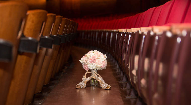 Rhinestone Jeweled Open Toed Wedding Shoes and White and Pink Wedding Bouquet in Straz Center Theatre