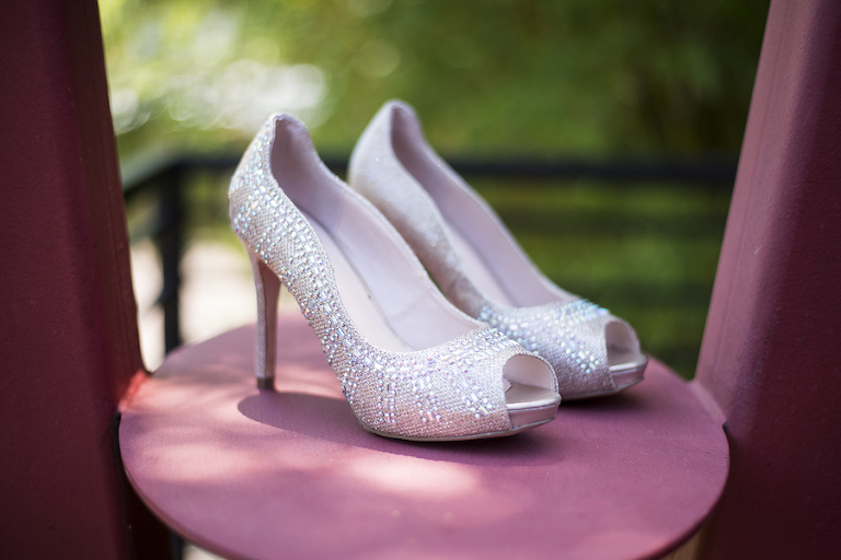 Crystal, Rhinestone Peep Toe Bridal Wedding Shoes