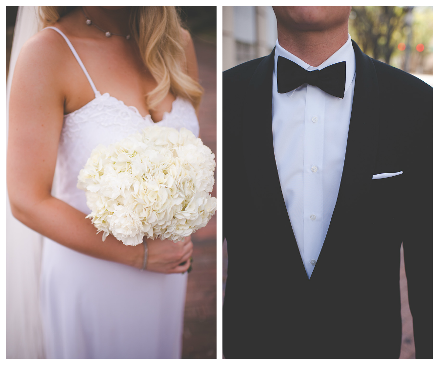 Bride and Groom Wedding Portrait in White Vintage Dress and Tux Detail with White Floral Bouquet