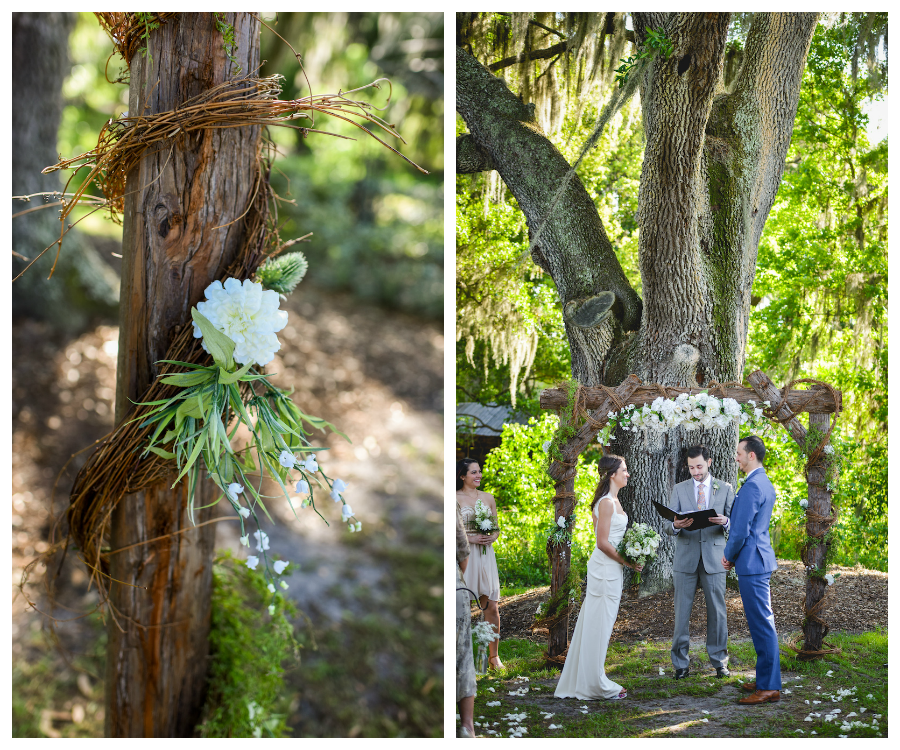 Wood And Twine Wedding Altar | Outdoor Wedding Ceremony Under Large Tree |  Rustic Tampa Wedding Ceremony At Cross Creek Ranch