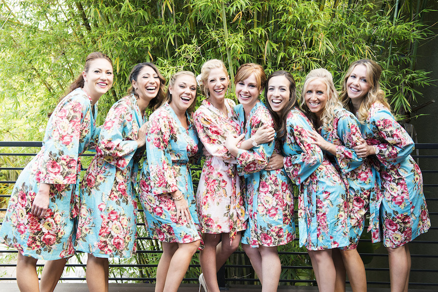 Bride and Bridesmaids Portrait with Floral Robes
