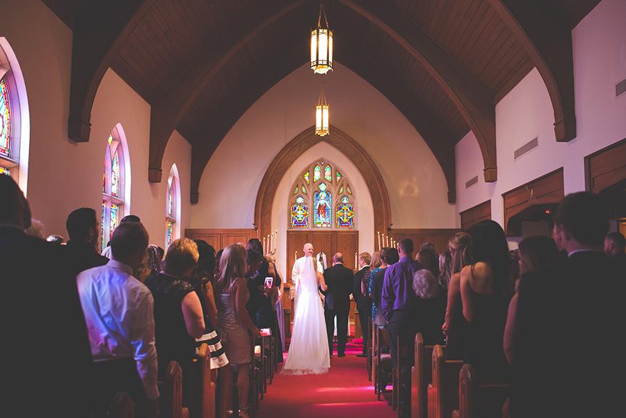 Bride Walking Down Aisle   Tampa Wedding Ceremony Venue Hyde Park Methodist Church