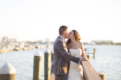 Waterfront Bridal Portrait with Bride and Groom Kissing on Dock | Sarasota Wedding Photography Djamel Photography