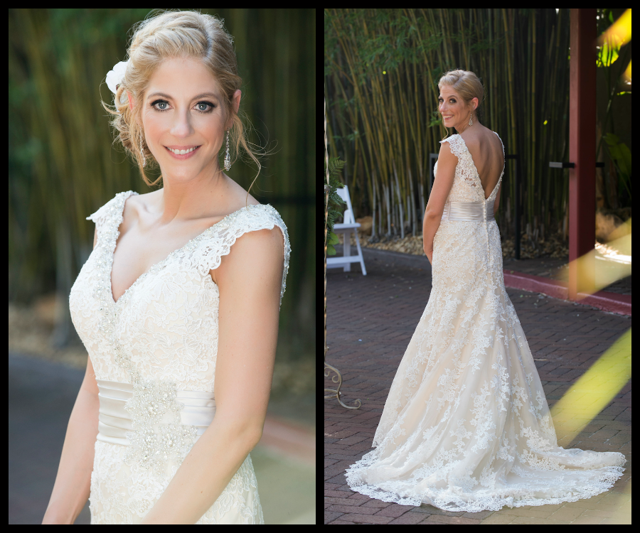 Outdoor, Bridal Portrait of Bride in Ivory, Lace Mori Lee Wedding Gown