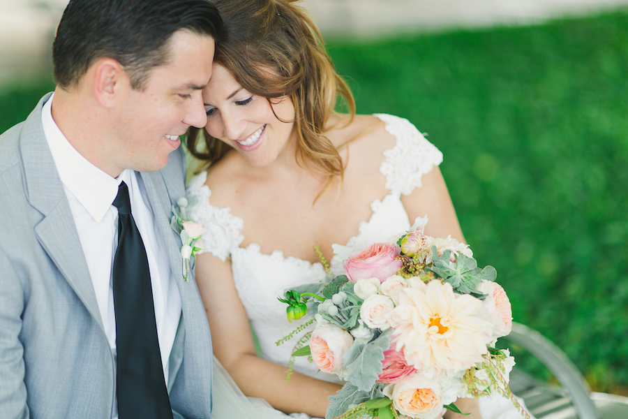 Bride and Groom Wedding Portrait with Pastel Peach and Pink Wedding Bouquet   Best St. Pete Wedding Photographer   Roohi Photography