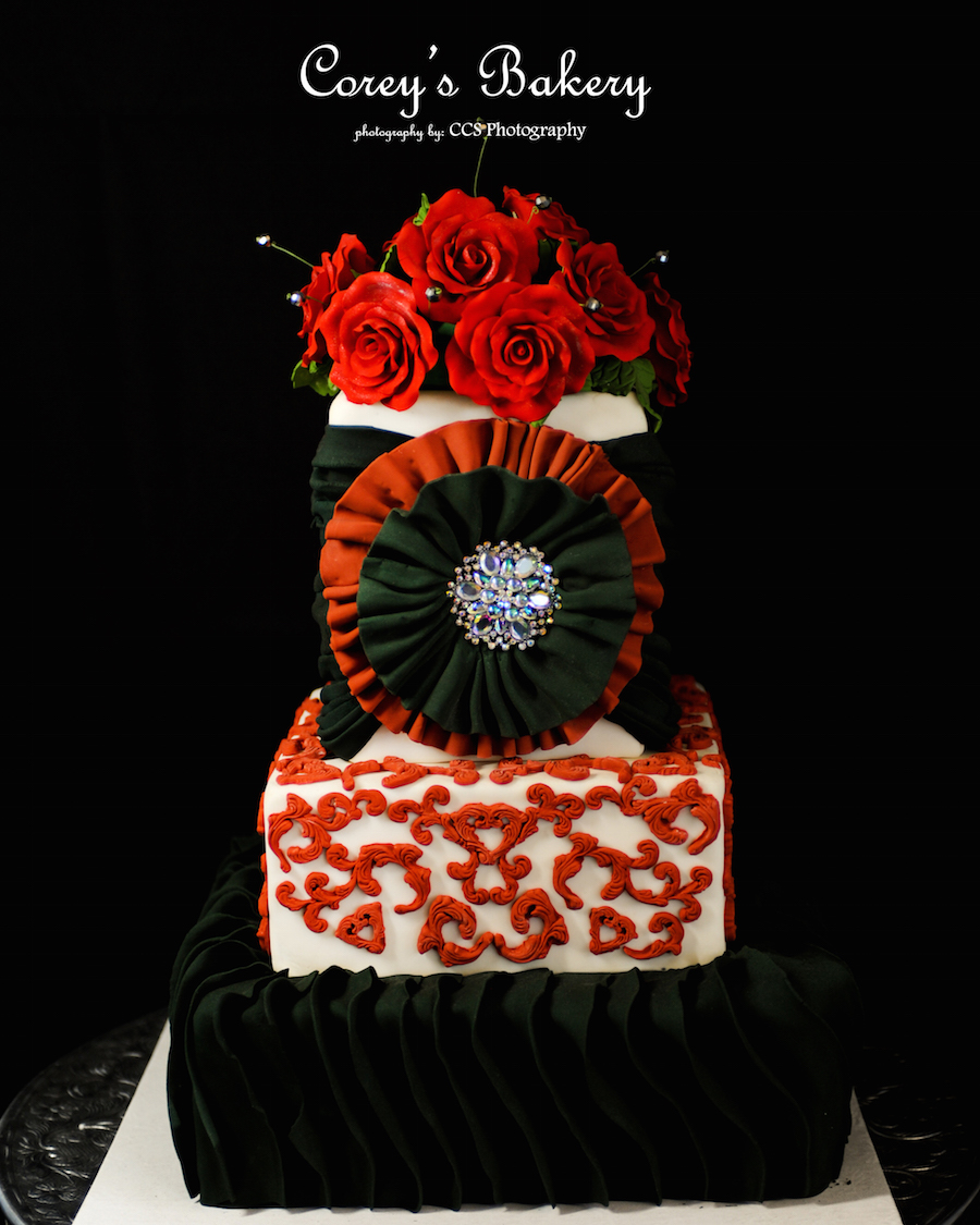 Romantic Red Roses And Black Accent Tiered Wedding Cake Tampa Clearwater Wedding Cakes Vendor Corey S Bakery And Catering Marry Me Tampa Bay Local Real Wedding Inspiration Vendor Recommendation Reviews
