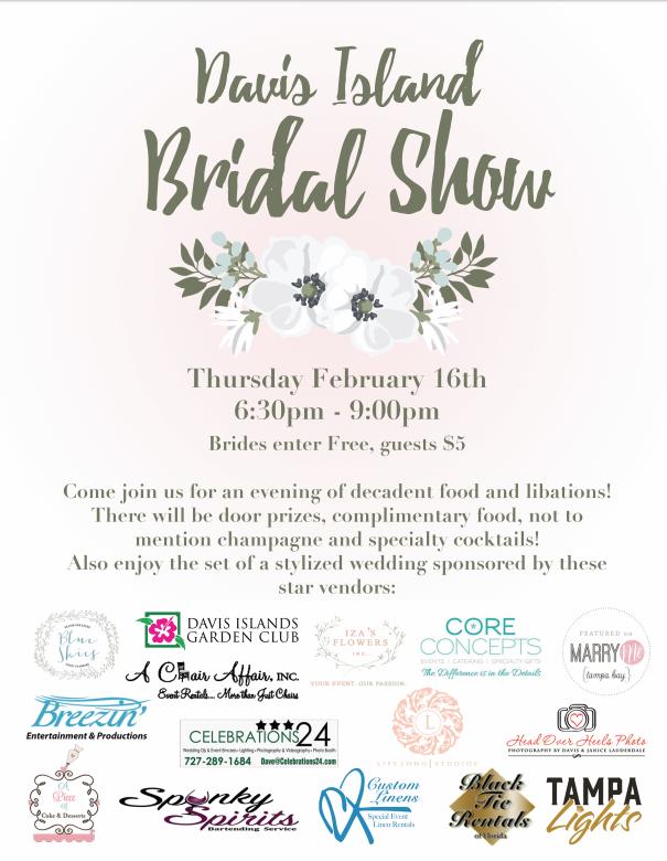 Tampa Bay Bridal Show February 16, 2017 | Davis Island Bridal Wedding Show