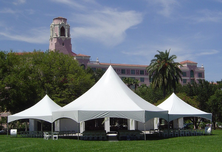 Outdoor Downtown St. Pete Wedding Reception Tent and Rentals | St. Petersburg Tent, Chair and Furniture Rental Coast to Coast Rentals