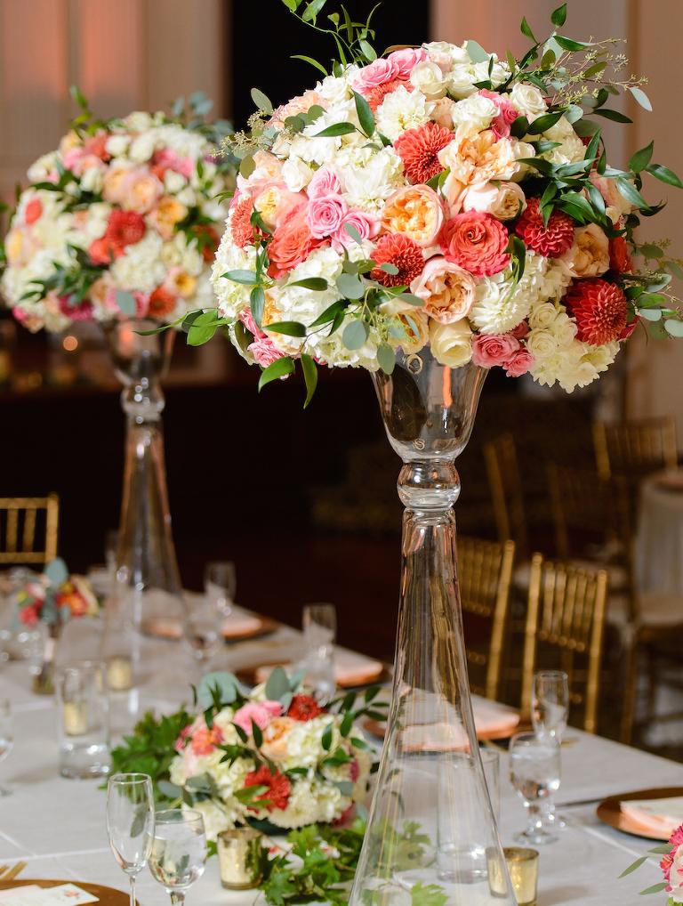 Tampa bay wedding florist spotlight andrea layne floral design white and pink tall wedding centerpieces tampa bay wedding florist andrea layne floral design junglespirit Choice Image