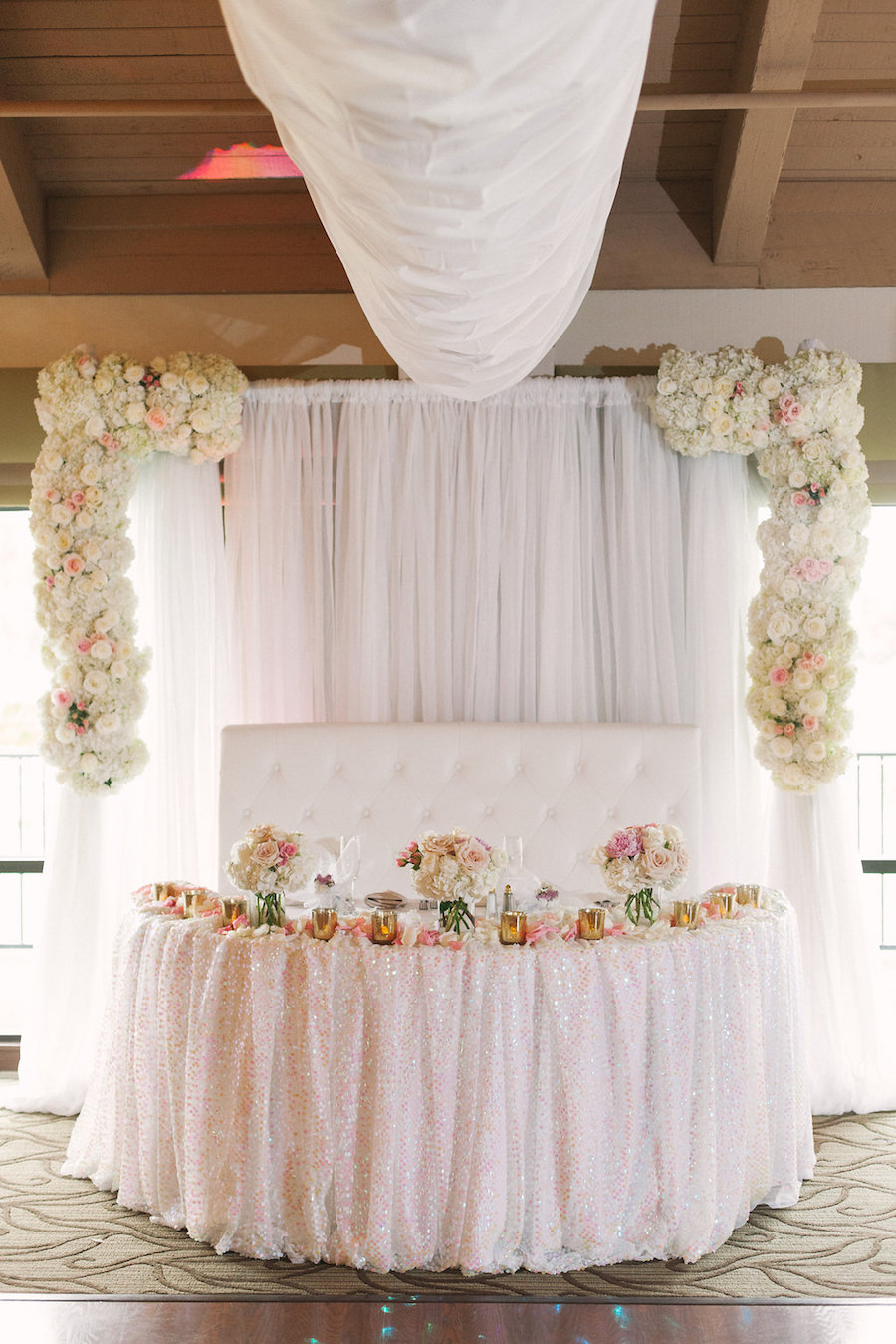 Blush Pink and Ivory White Wedding Reception with Draping and Floral Decor at Clearwater Venue Countryside Country Club