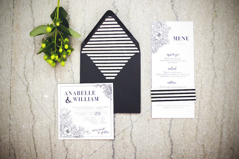 Modern Black and White Wedding Invitation Stationary