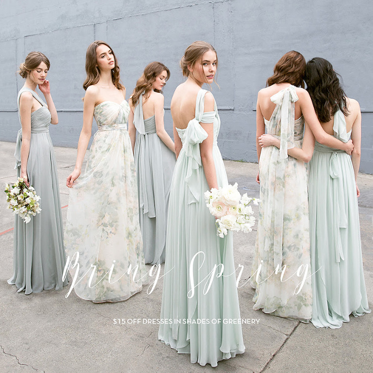9555bf94f2e Jenny Yoo Bridesmaids Dresses in Shades of Greenery at Tampa Bay Bridal  Store