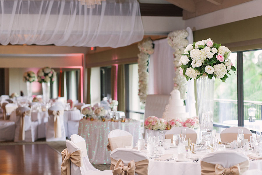 Blush Pink and Ivory White Wedding Reception with Draping and Tall Centerpieces at Clearwater Venue Countryside Country Club