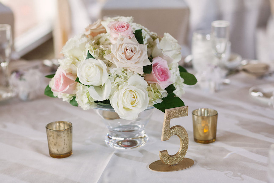 Blush Pink and White Wedding Reception Wedding Centerpieces with Gold Numbers and Floral Decor at Clearwater Venue Countryside Country Club