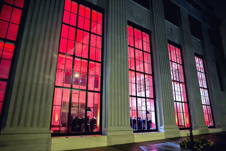 Modern Black and White Wedding with Red Uplighting at Downtown Tampa Wedding Venue The Vault | Tampa Wedding Photographer FotoBohemia