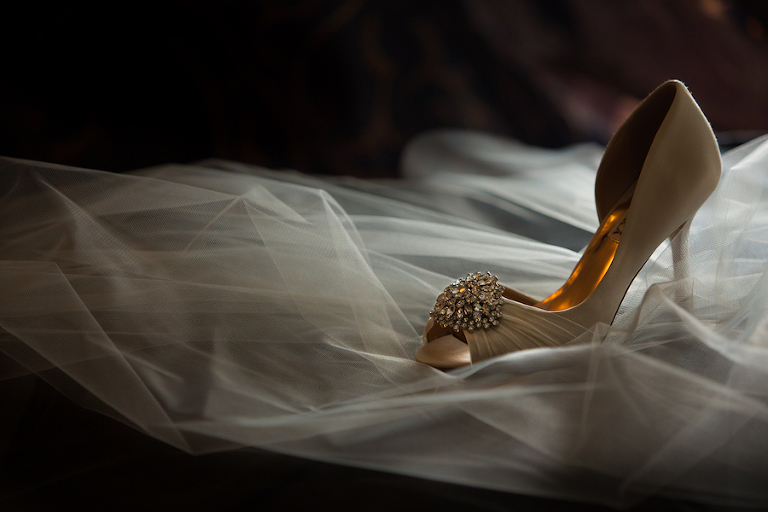 Ivory, Crystal Rhinestone Badgley Mischka Wedding Shoes with Veil