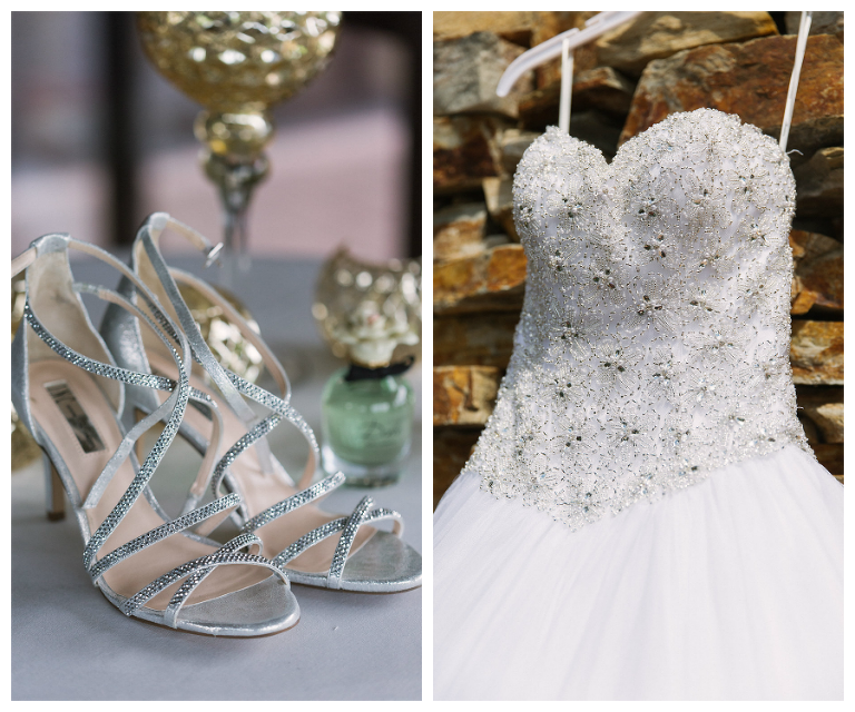 Strapless White Wedding Ball Gown and Silver Strappy Heels at Countryside Country Club