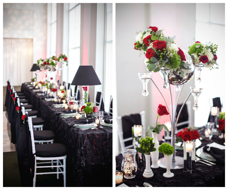Modern Black Linen, White Chiavari Chairs, and Red, Ivory and Green Centerpieces | Tampa Wedding Florist Apple Blossoms Floral Design