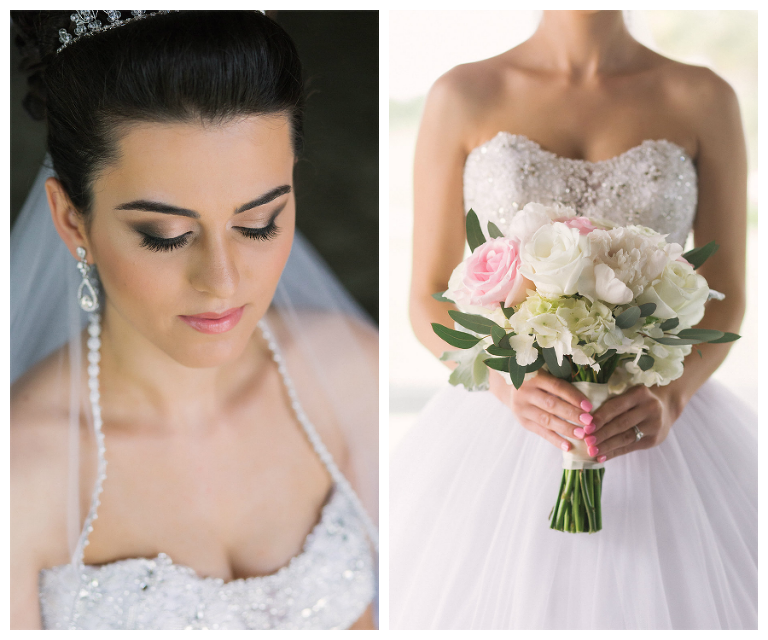 Bridal Makeup By Lindsay Does Makeup | Strapless White Wedding Ball Gown with Pastel Bouquet Detail Countryside Country Club