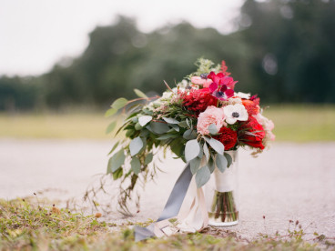 Pink and Red Vintage Wedding Bouquet with Greenery | Tampa Bay Wedding Florist Andrea Layne Floral Design