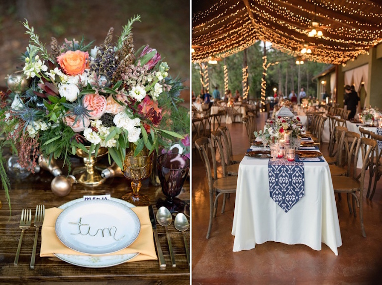 Tampa Bay Elegant Outdoor Wedding Reception Details with Floral and Gold Accents Outdoor Lighting and Navy Table Runners with Floral China and Plate Chargers| St. Petersburg Wedding Photographer Caroline and Evan Photography