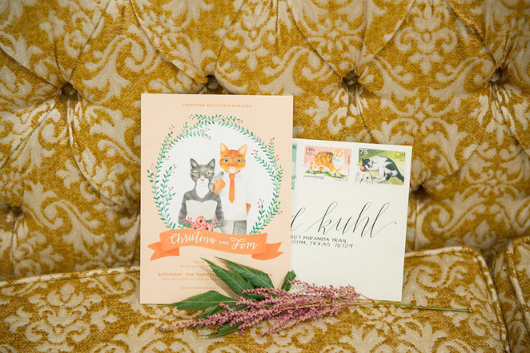 Cat Inspired Wedding Invitation Set with Cat Stamps and Calligraphy | Tampa Bay Wedding Photographer Artful Adventures Photography