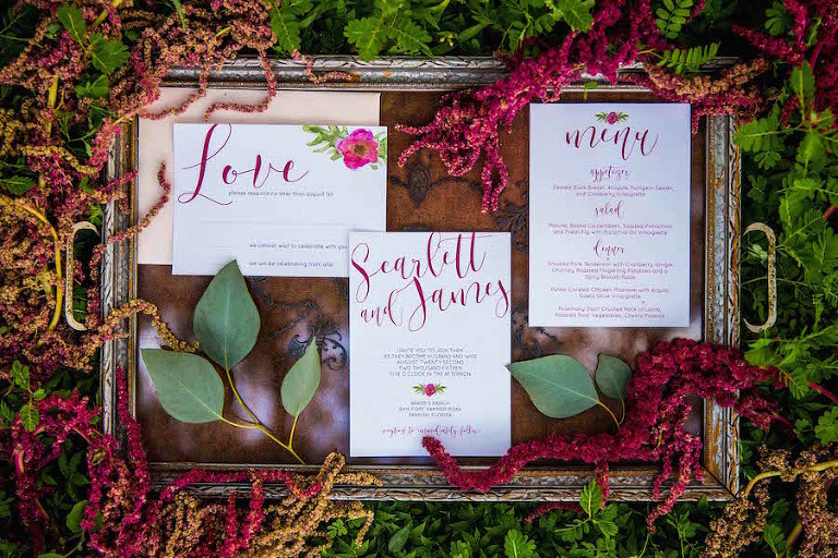 Southern Deep Burgandy Red Wedding Invitations Cursive Scrpit Font and Greenary