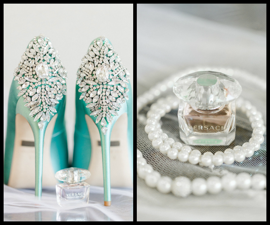 Clearwater Beach Blue Wedding Shoes with Crystal/Rhinestone Bling Detailing | Clearwater Beach Wedding Photographer Ailyn La Torre Photography