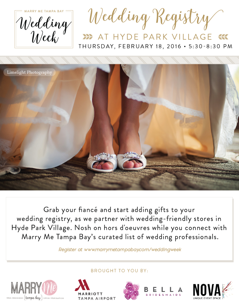 Tampa bay wedding week 2016 unique bridal show event for Top 10 wedding registry stores