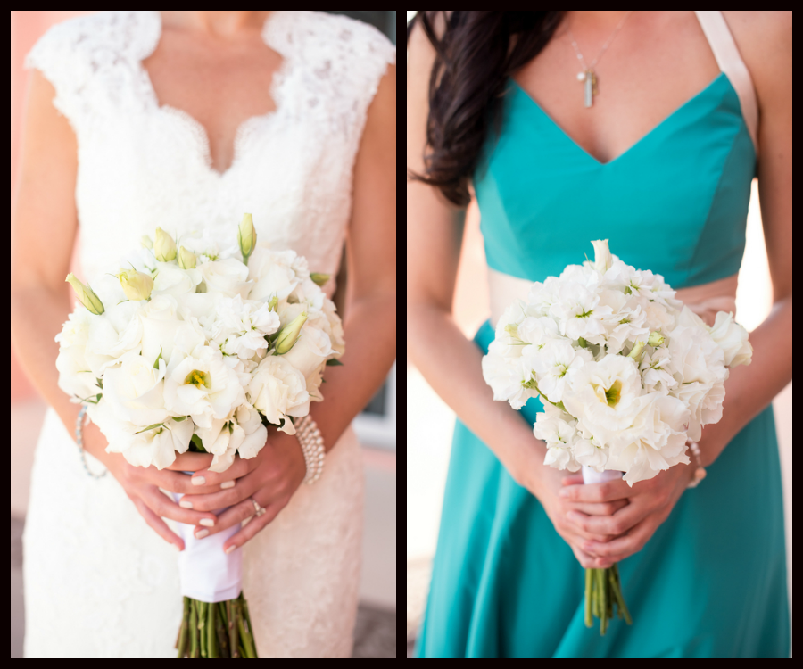 Bride and Bridesmaids with Ivory, Floral Wedding Bouquets