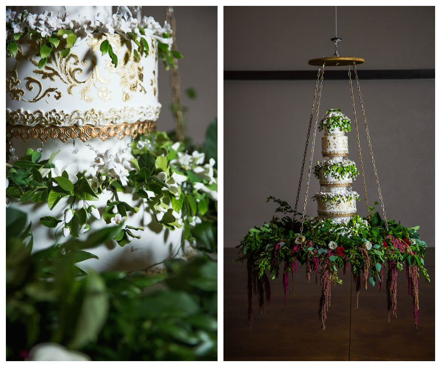 White and Gold Round Wedding Cake with Greenery | Hanging Suspended from Ceiling