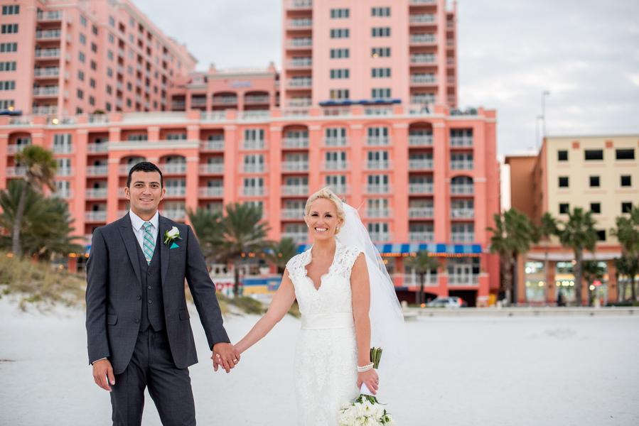 Bride and Groom Wedding Portrait Holding Hands on Clearwater Beach |Clearwater Beach Wedding Photographer Caroline and Evan Photography