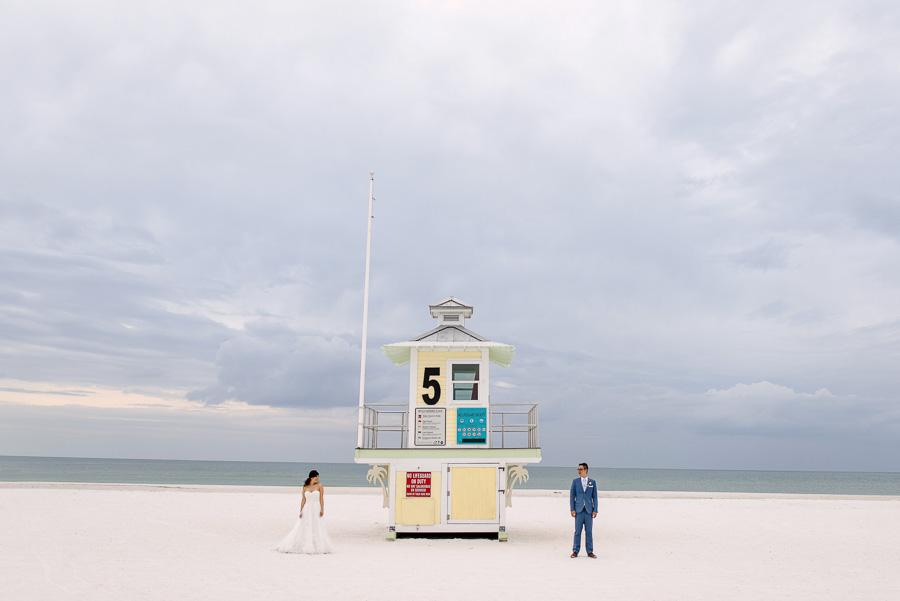 Clearwater Beach Wedding Bride and Groom Portrait on Beach