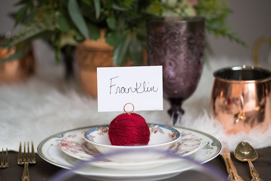 Yarn Ball Place card Holders with Vintage Dishes from Tampa Bay Wedding Rental Company Ever After Vintage Weddings | Cat Themed Tampa Bay Styled Wedding Shoot by Tampa Bay Wedding Designer Ever After Vintage Weddings | Tampa Bay Wedding Photographer Artful Adventures Photography