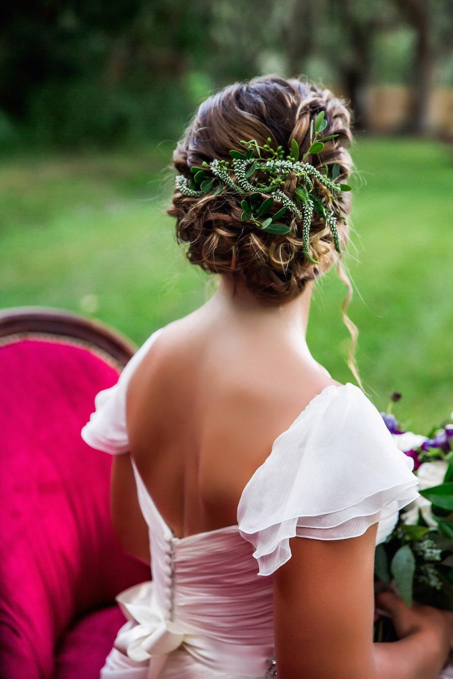 Wedding Hair Braided Updo with Greenery | Amsale wedding dress from Blush Bridal Sarasota