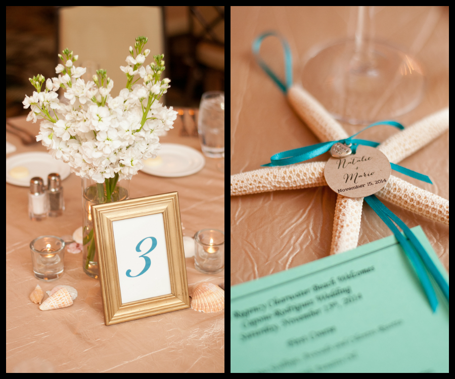 Beach Starfish Wedding Accents and White Flower Centerpieces with Teal