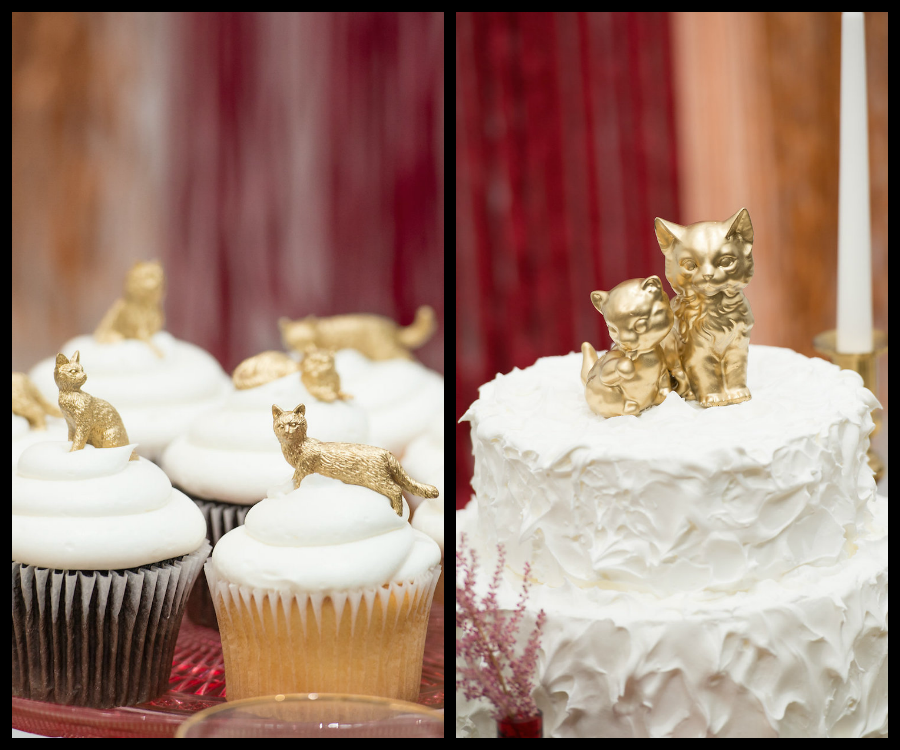 Wedding Cake and Cupcakes with Gold Kitten and Cat Cake Topper from Tampa Bay Bakery Cakes Tampa |Tampa Bay Wedding Photographer Artful Adventures Photography