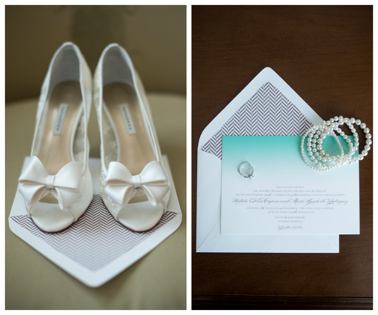 White, Wedding Heels with Bow and Blue Ombre Wedding Invitation with Pearl Bracelets and Engagement Ring