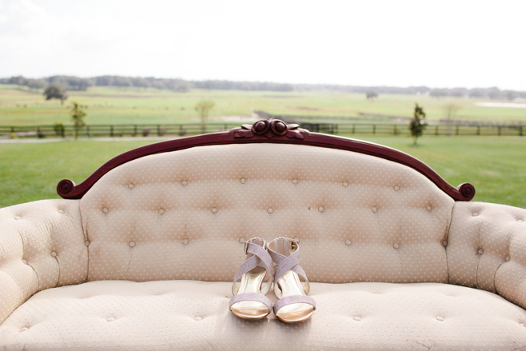 Bridal, Strap Open-Toed Wedding Shoes on Vintage Couch | Rustic Tampa Bay Wedding
